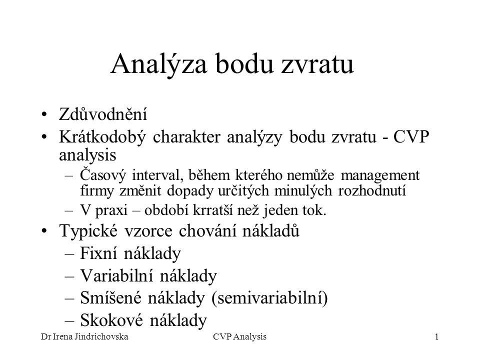 Dr Irena JindrichovskaCVP Analysis1 Analýza bodu zvratu Zdůvodnění Krátkodobý charakter analýzy bodu zvratu - CVP analysis –Časový interval, během kte