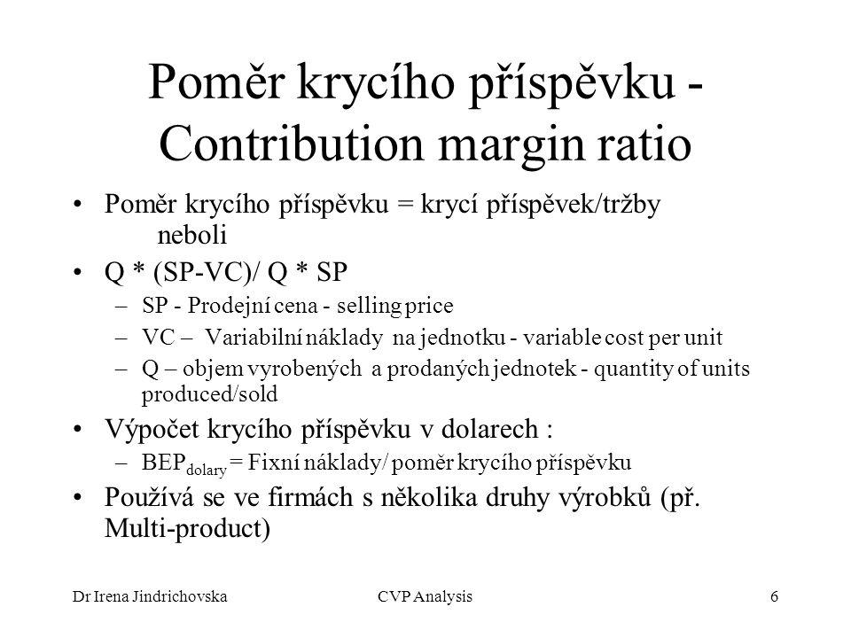 Dr Irena JindrichovskaCVP Analysis6 Poměr krycího příspěvku - Contribution margin ratio Poměr krycího příspěvku = krycí příspěvek/tržby neboli Q * (SP