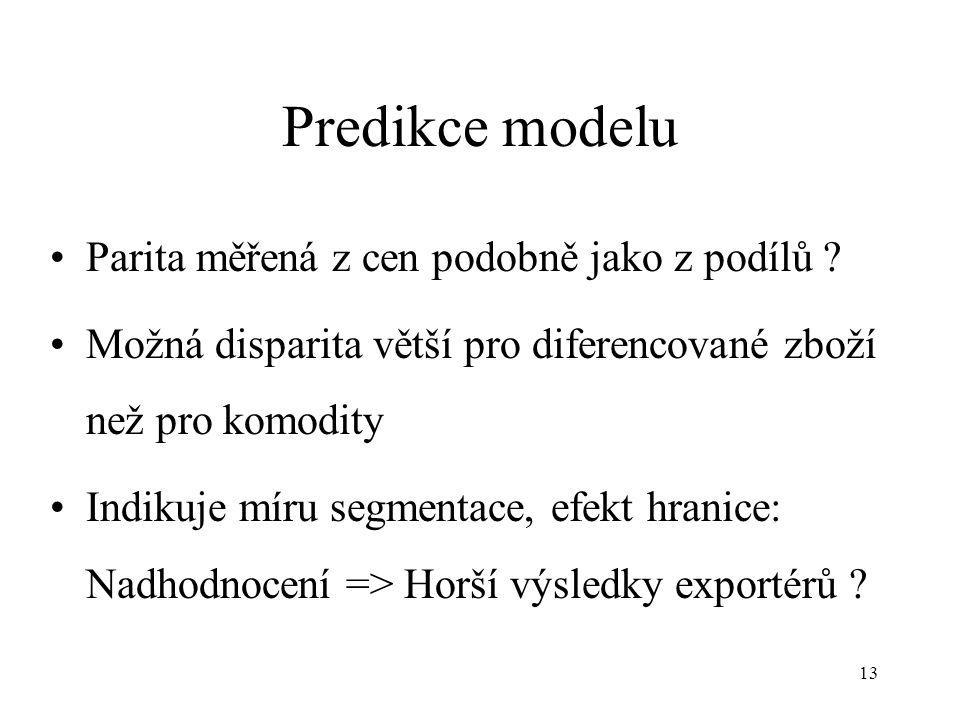 13 Predikce modelu Parita měřená z cen podobně jako z podílů .