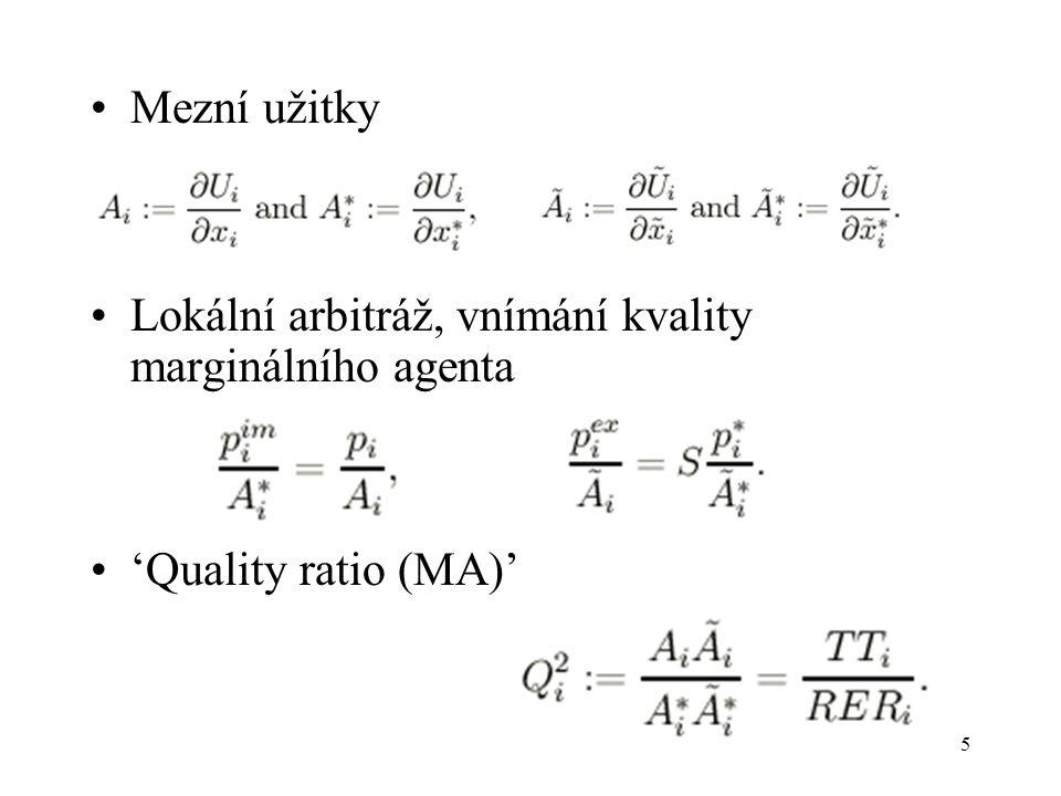 5 Mezní užitky Lokální arbitráž, vnímání kvality marginálního agenta 'Quality ratio (MA)'