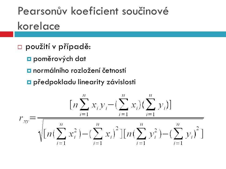 Pearsonův koeficient součinové korelace  použití v případě:  poměrových dat  normálního rozložení četností  předpokladu linearity závislosti