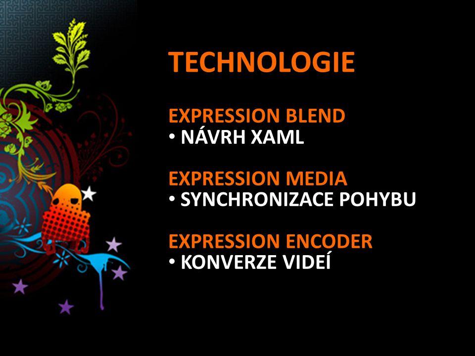 TECHNOLOGIE EXPRESSION BLEND NÁVRH XAML EXPRESSION MEDIA SYNCHRONIZACE POHYBU EXPRESSION ENCODER KONVERZE VIDEÍ