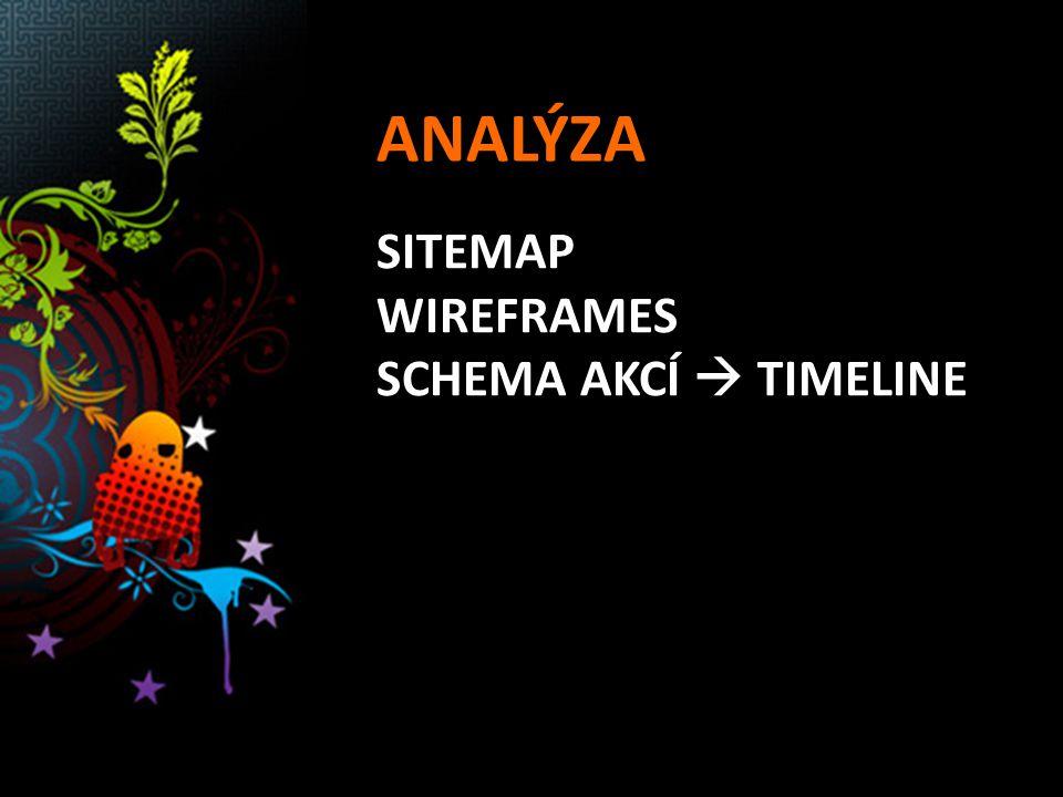 ANALÝZA SITEMAP WIREFRAMES SCHEMA AKCÍ  TIMELINE