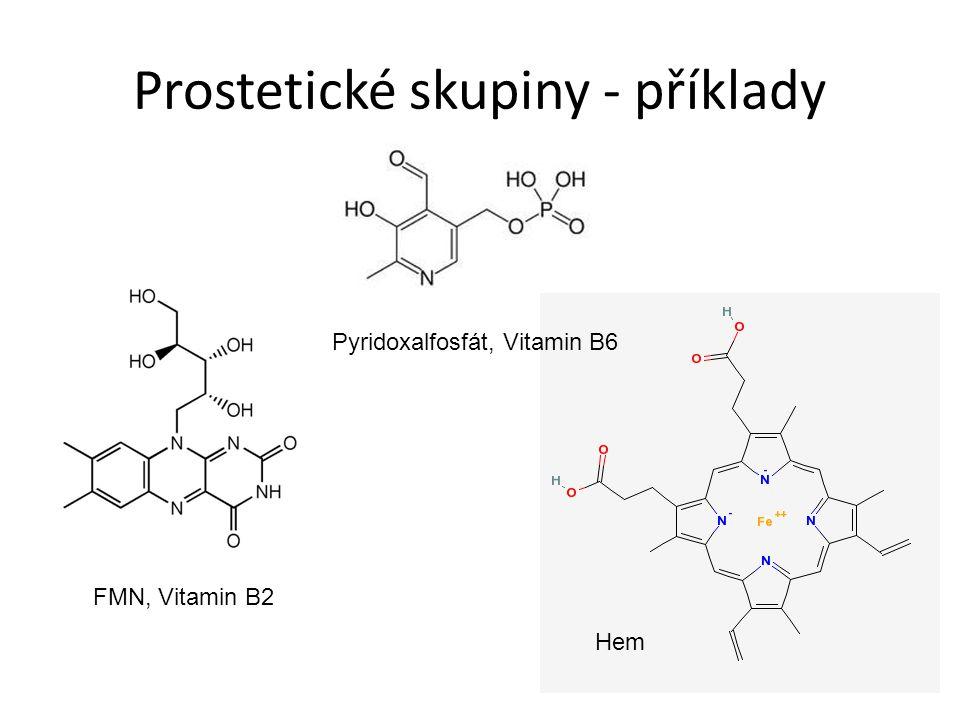 Prostetické skupiny - příklady FMN, Vitamin B2 Pyridoxalfosfát, Vitamin B6 Hem