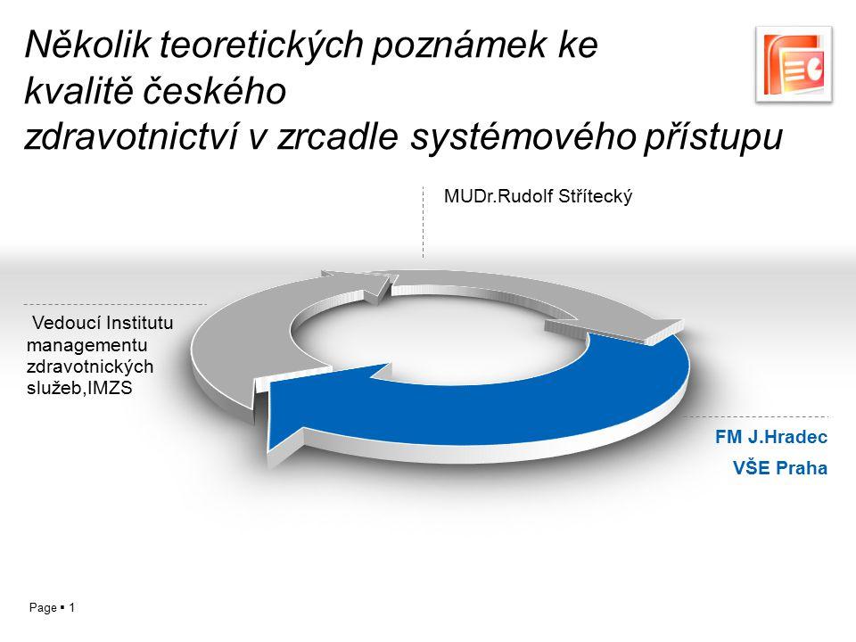 Page  1 Několik teoretických poznámek ke kvalitě českého zdravotnictví v zrcadle systémového přístupu MUDr.Rudolf Střítecký FM J.Hradec VŠE Praha Ved