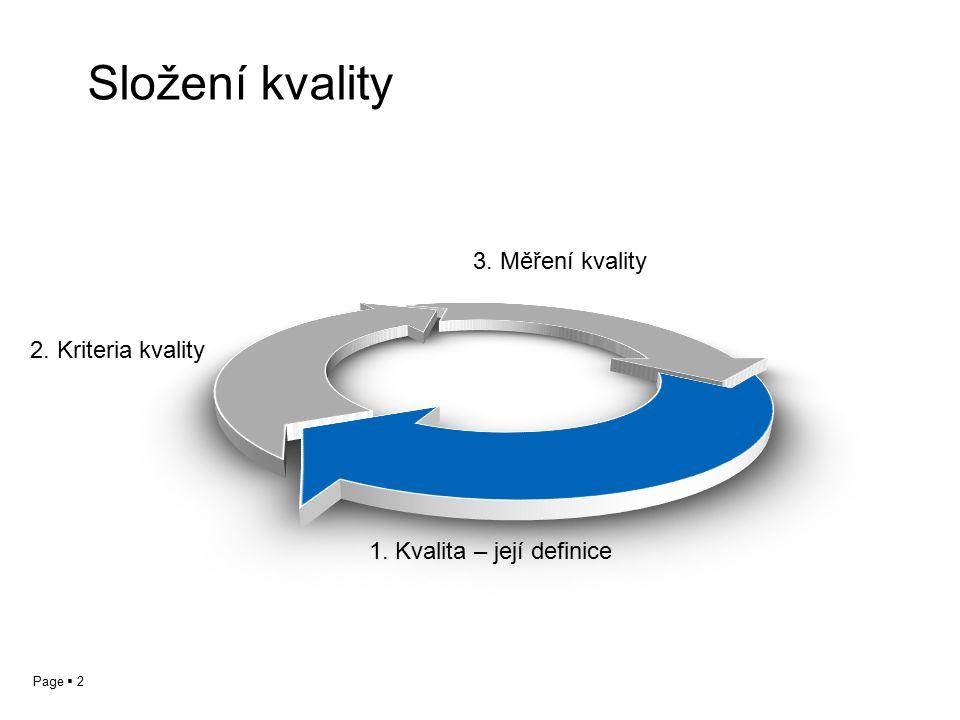 Page  2 Složení kvality 1. Kvalita – její definice 2. Kriteria kvality 3. Měření kvality