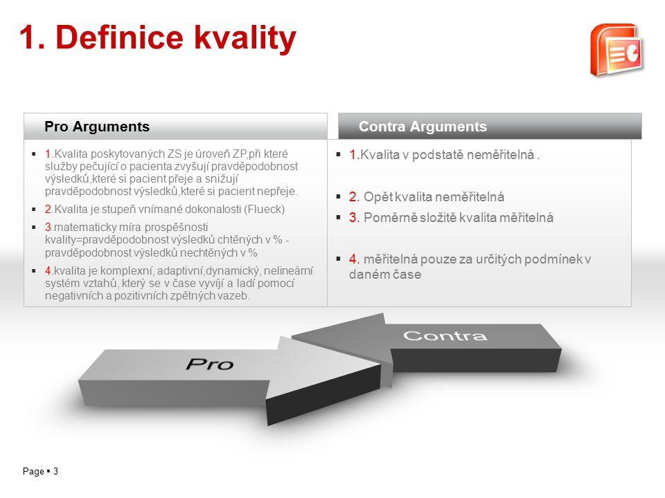 Page  3 1. Definice kvality Pro Arguments  1.Kvalita poskytovaných ZS je úroveň ZP,při které služby pečující o pacienta zvyšují pravděpodobnost výsl