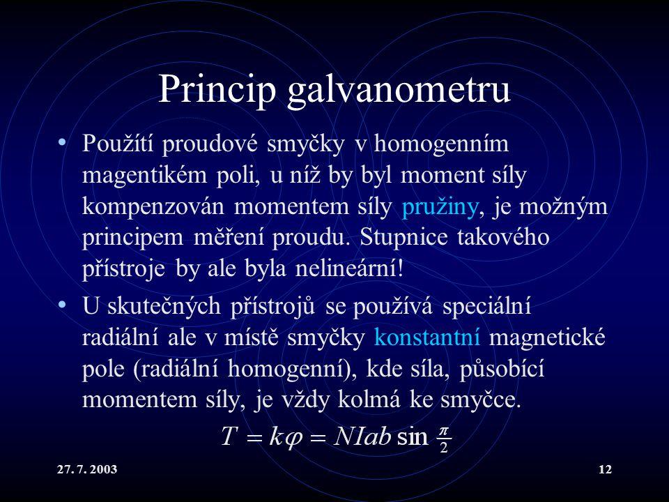 27. 7. 200312 Princip galvanometru Použítí proudové smyčky v homogenním magentikém poli, u níž by byl moment síly kompenzován momentem síly pružiny, j