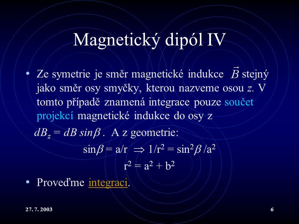 27. 7. 20036 Magnetický dipól IV Ze symetrie je směr magnetické indukce stejný jako směr osy smyčky, kterou nazveme osou z. V tomto případě znamená in