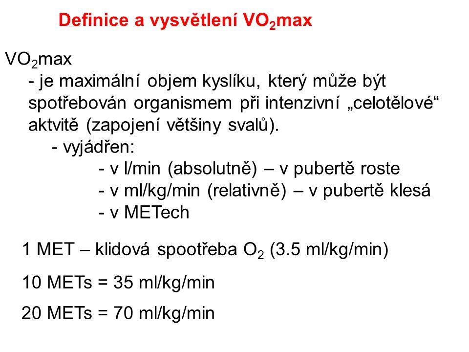 """VO 2 max - je maximální objem kyslíku, který může být spotřebován organismem při intenzivní """"celotělové"""" aktvitě (zapojení většiny svalů). - vyjádřen:"""