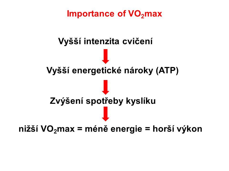 Vyšší intenzita cvičení Vyšší energetické nároky (ATP) Zvýšení spotřeby kyslíku nižší VO 2 max = méně energie = horší výkon Importance of VO 2 max
