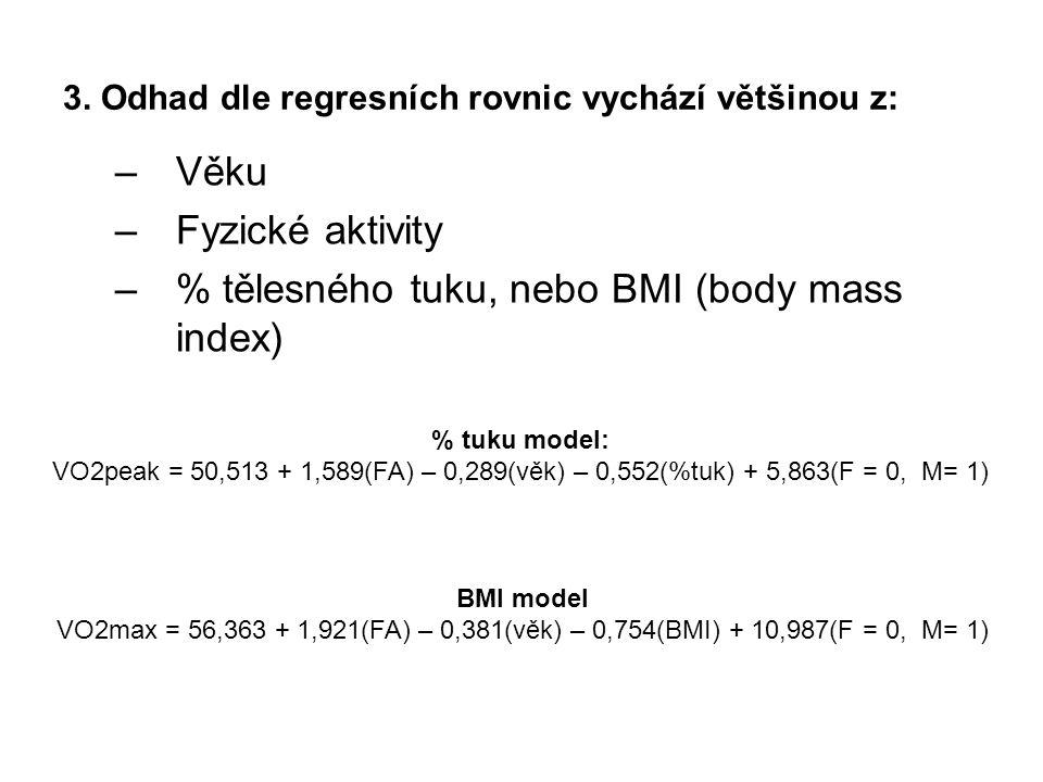 –Věku –Fyzické aktivity –% tělesného tuku, nebo BMI (body mass index) 3. Odhad dle regresních rovnic vychází většinou z: BMI model VO2max = 56,363 + 1