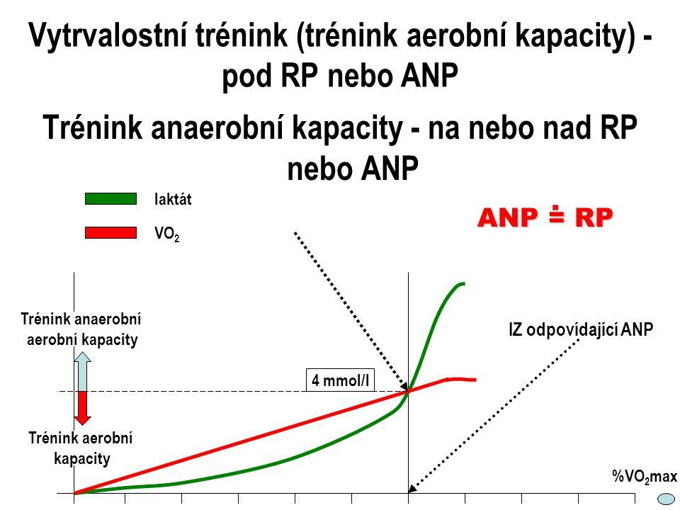 Vytrvalostní trénink (trénink aerobní kapacity) - pod RP nebo ANP Trénink anaerobní kapacity - na nebo nad RP nebo ANP laktát VO 2 4 mmol/l IZ odpovíd