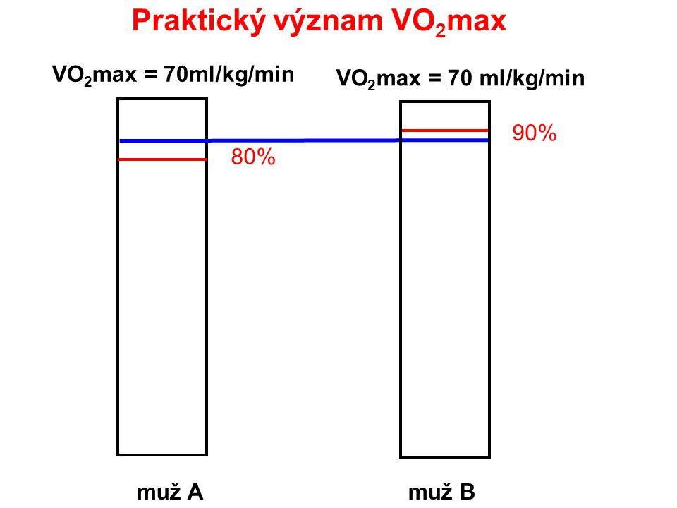 Praktický význam VO 2 max muž Amuž B VO 2 max = 70ml/kg/min 80% 90%