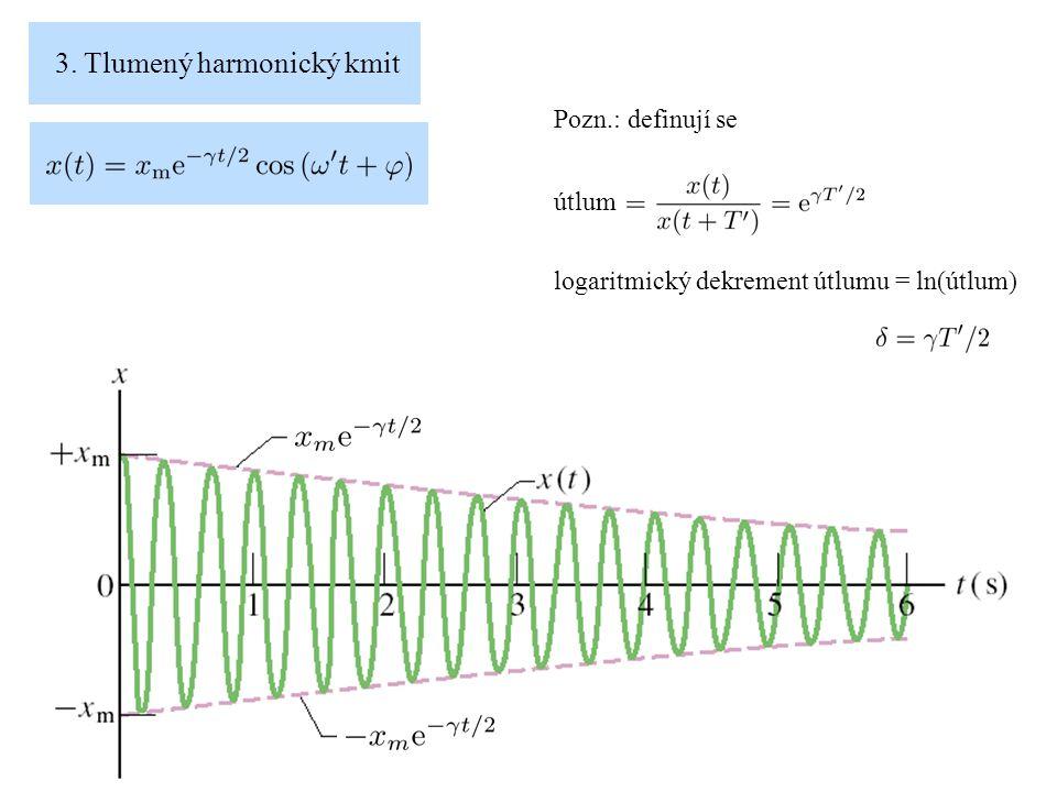 3. Tlumený harmonický kmit Pozn.: definují se útlum logaritmický dekrement útlumu = ln(útlum)