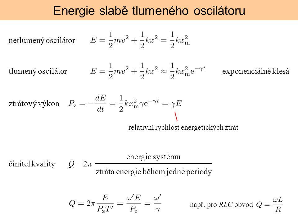 Energie slabě tlumeného oscilátoru netlumený oscilátor tlumený oscilátorexponenciálně klesá ztrátový výkon relativní rychlost energetických ztrát čini