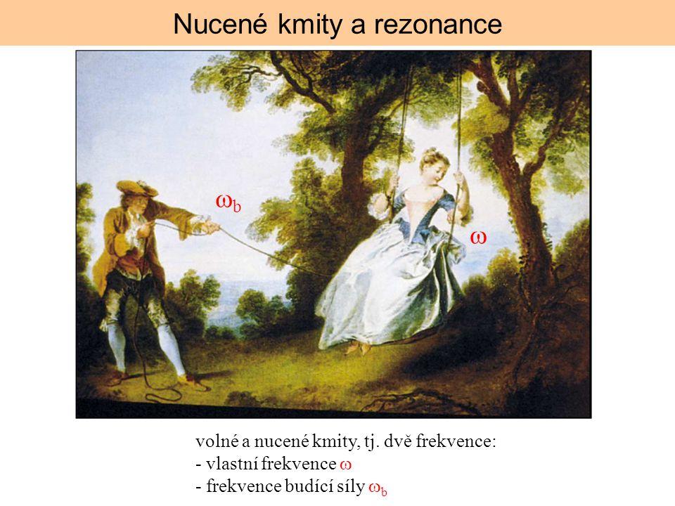  bb Nucené kmity a rezonance volné a nucené kmity, tj. dvě frekvence: - vlastní frekvence  - frekvence budící síly  b