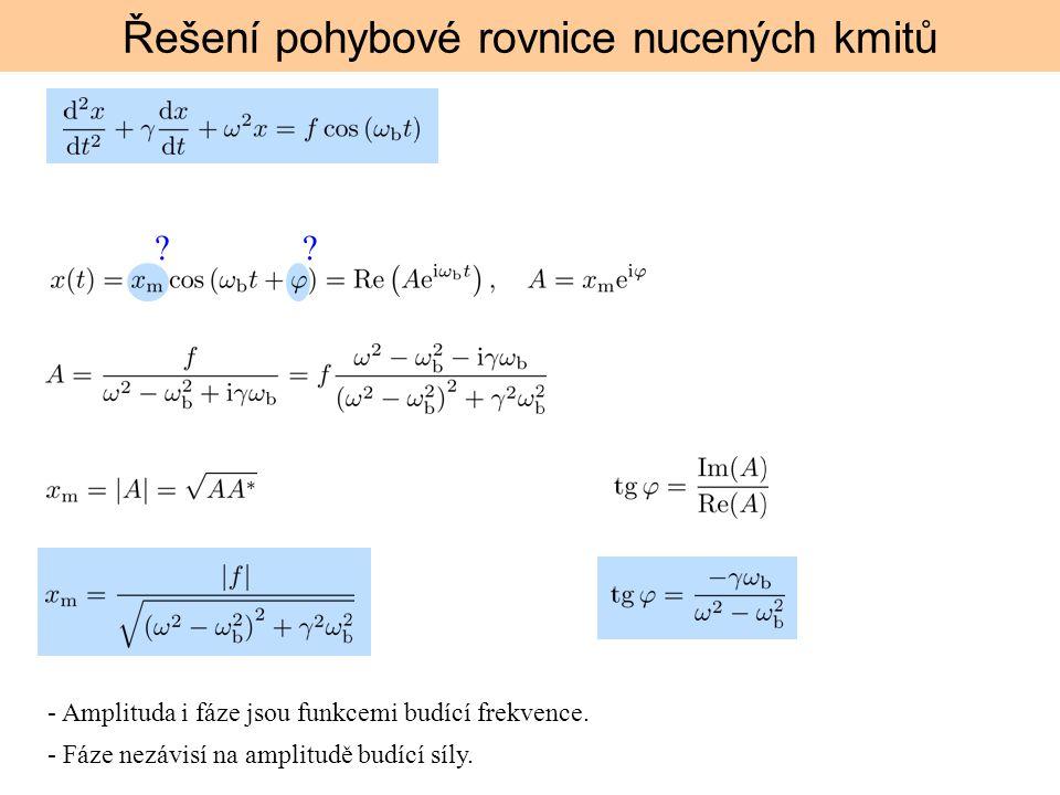 ?? Řešení pohybové rovnice nucených kmitů - Amplituda i fáze jsou funkcemi budící frekvence. - Fáze nezávisí na amplitudě budící síly.