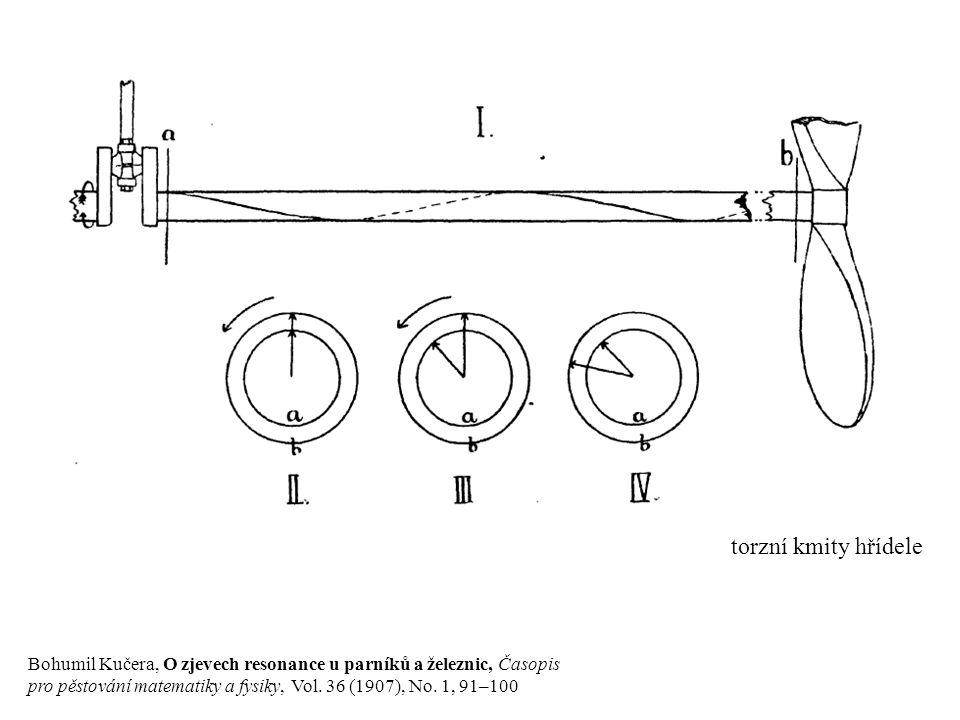 Bohumil Kučera, O zjevech resonance u parníků a železnic, Časopis pro pěstování matematiky a fysiky, Vol. 36 (1907), No. 1, 91–100 torzní kmity hřídel