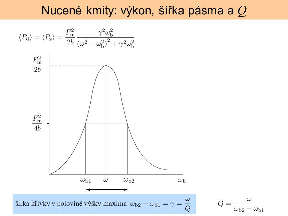 Nucené kmity: výkon, šířka pásma a Q šířka křivky v polovině výšky maxima