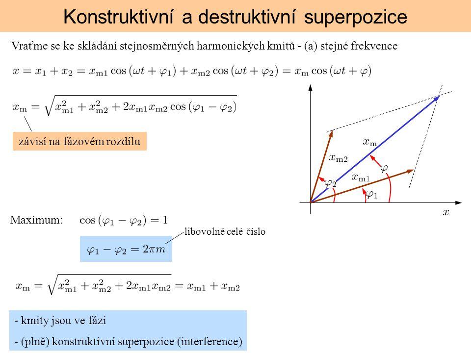 Konstruktivní a destruktivní superpozice Vraťme se ke skládání stejnosměrných harmonických kmitů - (a) stejné frekvence závisí na fázovém rozdílu - km