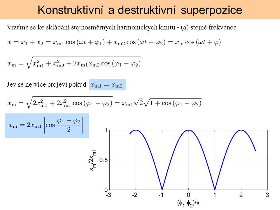 Konstruktivní a destruktivní superpozice Vraťme se ke skládání stejnosměrných harmonických kmitů - (a) stejné frekvence Jev se nejvíce projeví pokud