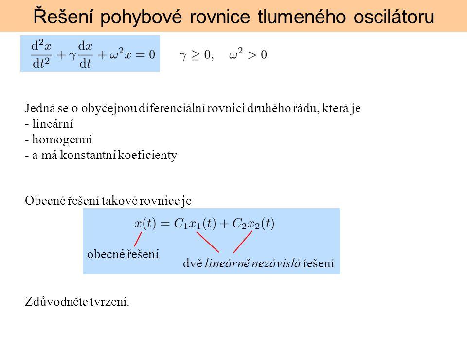 Řešení pohybové rovnice tlumeného oscilátoru předpokládáme řešení obecné řešení: 3 možnosti: 1.Aperiodický pohyb (silný útlum) 2.Mezní aperiodický pohyb (kritický útlum) 3.Tlumený harmonický kmit (slabý útlum)