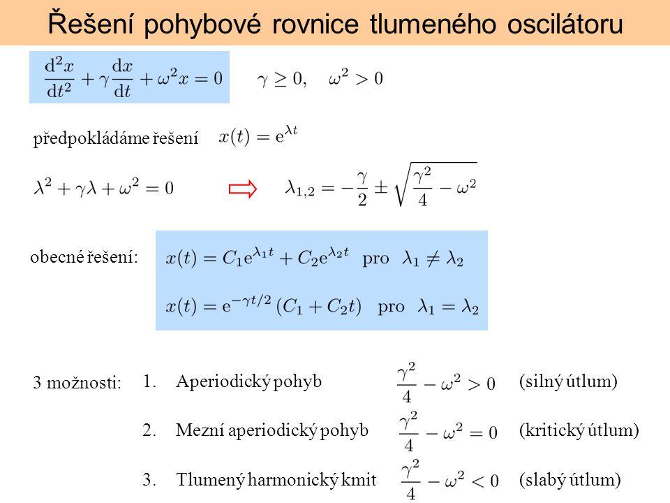 Řešení pohybové rovnice tlumeného oscilátoru předpokládáme řešení obecné řešení: 3 možnosti: 1.Aperiodický pohyb (silný útlum) 2.Mezní aperiodický poh