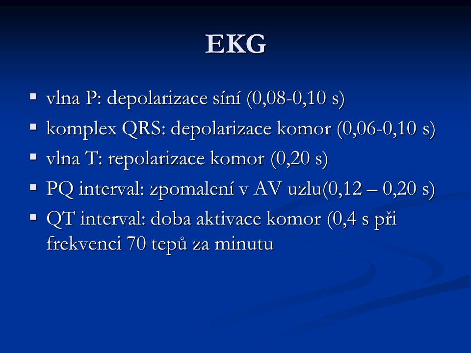 EKG  vlna P: depolarizace síní (0,08-0,10 s)  komplex QRS: depolarizace komor (0,06-0,10 s)  vlna T: repolarizace komor (0,20 s)  PQ interval: zpomalení v AV uzlu(0,12 – 0,20 s)  QT interval: doba aktivace komor (0,4 s při frekvenci 70 tepů za minutu