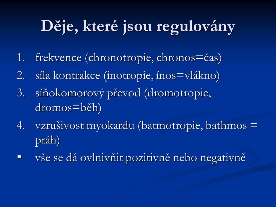 Děje, které jsou regulovány 1.frekvence (chronotropie, chronos=čas) 2.síla kontrakce (inotropie, ínos=vlákno) 3.síňokomorový převod (dromotropie, dromos=běh) 4.vzrušivost myokardu (batmotropie, bathmos = práh)  vše se dá ovlnivňit pozitivně nebo negativně