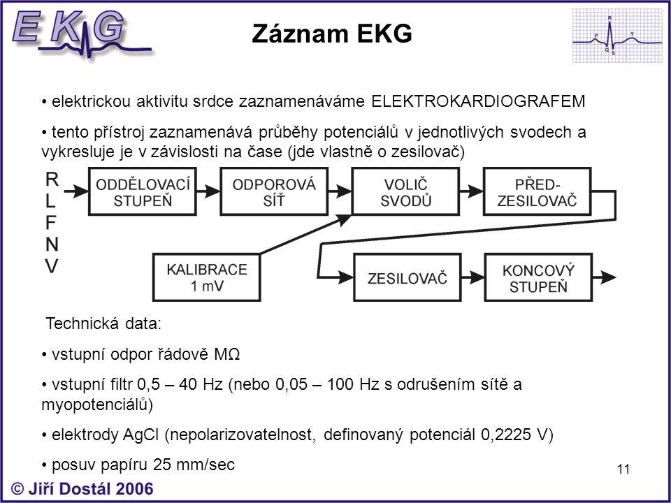 11 Záznam EKG elektrickou aktivitu srdce zaznamenáváme ELEKTROKARDIOGRAFEM tento přístroj zaznamenává průběhy potenciálů v jednotlivých svodech a vykr
