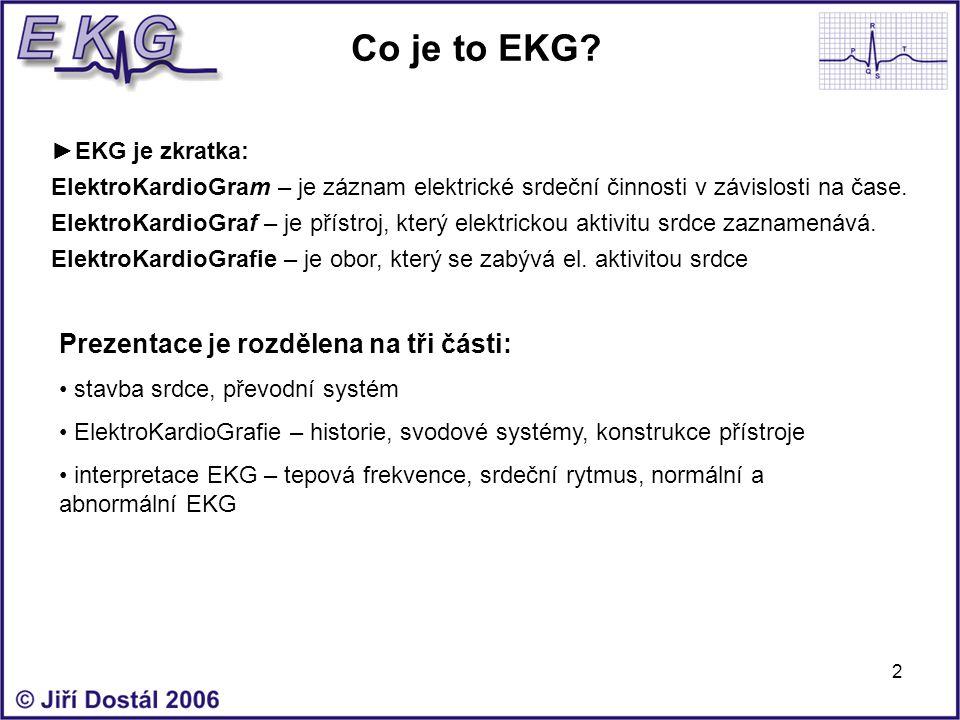 2 Co je to EKG? ►EKG je zkratka: ElektroKardioGram – je záznam elektrické srdeční činnosti v závislosti na čase. ElektroKardioGraf – je přístroj, kter