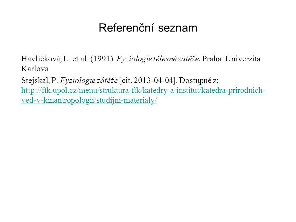 Referenční seznam Havlíčková, L. et al. (1991). Fyziologie tělesné zátěže. Praha: Univerzita Karlova Stejskal, P. Fyziologie zátěže [cit. 2013-04-04].