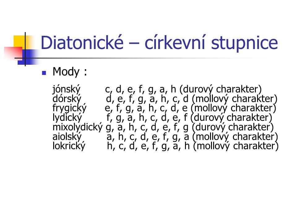 Diatonické – církevní stupnice Mody : jónský c, d, e, f, g, a, h (durový charakter) dórský d, e, f, g, a, h, c, d (mollový charakter) frygický e, f, g, a, h, c, d, e (mollový charakter) lydický f, g, a, h, c, d, e, f (durový charakter) mixolydický g, a, h, c, d, e, f, g (durový charakter) aiolský a, h, c, d, e, f, g, a (mollový charakter) lokrický h, c, d, e, f, g, a, h (mollový charakter)