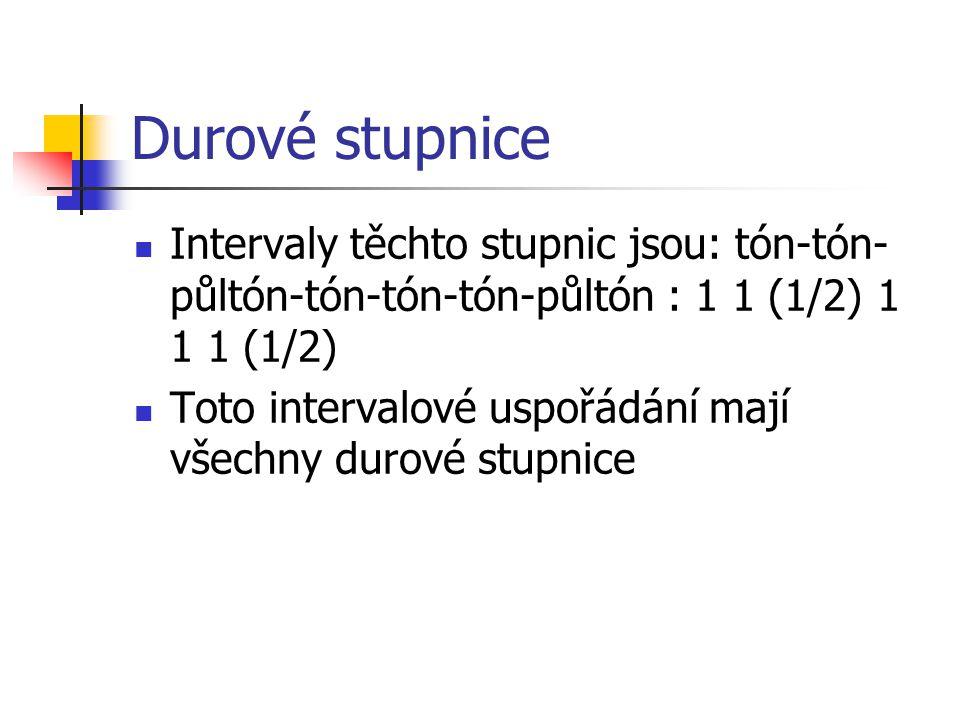Durové stupnice Intervaly těchto stupnic jsou: tón-tón- půltón-tón-tón-tón-půltón : 1 1 (1/2) 1 1 1 (1/2) Toto intervalové uspořádání mají všechny durové stupnice