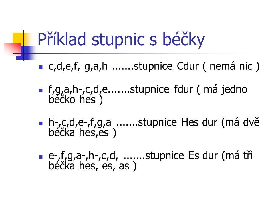 Příklad stupnic s béčky c,d,e,f, g,a,h.......stupnice Cdur ( nemá nic ) f,g,a,h-,c,d,e.......stupnice fdur ( má jedno béčko hes ) h-,c,d,e-,f,g,a.......stupnice Hes dur (má dvě béčka hes,es ) e-,f,g,a-,h-,c,d,.......stupnice Es dur (má tři béčka hes, es, as )