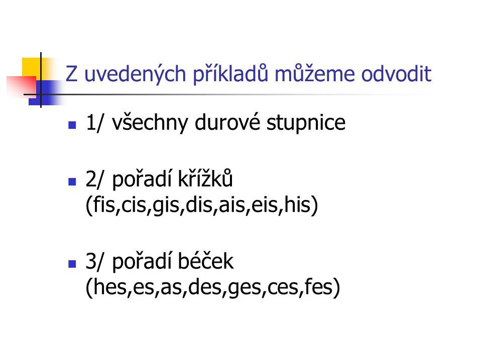 Z uvedených příkladů můžeme odvodit 1/ všechny durové stupnice 2/ pořadí křížků (fis,cis,gis,dis,ais,eis,his) 3/ pořadí béček (hes,es,as,des,ges,ces,fes)