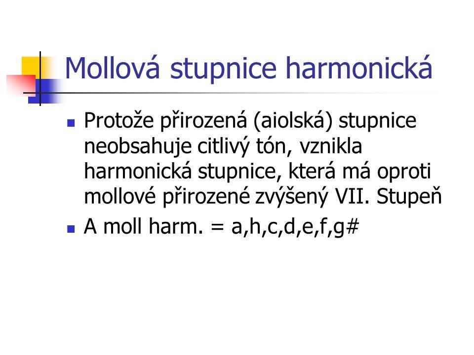 Mollová stupnice harmonická Protože přirozená (aiolská) stupnice neobsahuje citlivý tón, vznikla harmonická stupnice, která má oproti mollové přirozené zvýšený VII.
