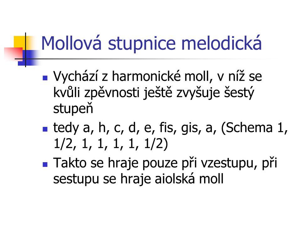 Mollová stupnice melodická Vychází z harmonické moll, v níž se kvůli zpěvnosti ještě zvyšuje šestý stupeň tedy a, h, c, d, e, fis, gis, a, (Schema 1, 1/2, 1, 1, 1, 1, 1/2) Takto se hraje pouze při vzestupu, při sestupu se hraje aiolská moll