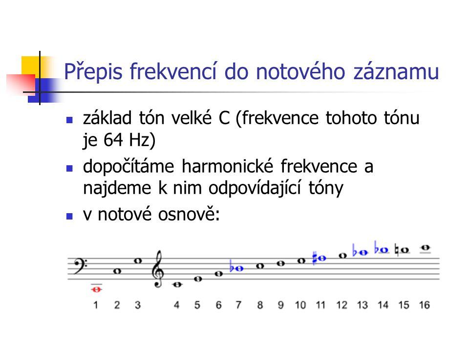 Přepis frekvencí do notového záznamu základ tón velké C (frekvence tohoto tónu je 64 Hz) dopočítáme harmonické frekvence a najdeme k nim odpovídající tóny v notové osnově: