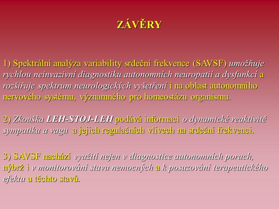 ZÁVĚRY 1) Spektrální analýza variability srdeční frekvence (SAVSF) umožňuje rychlou neinvazivní diagnostiku autonomních neuropatií a dysfunkcí a rozši