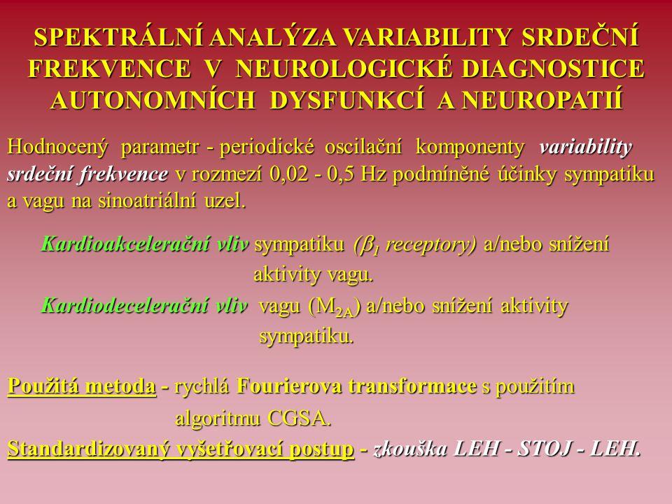 HODNOCENÉ UKAZATELE SPEKTRÁLNÍ ANALÝZY VARIABILITY SRDEČNÍ FREKVENCE A JEJICH VÝZNAM Spektrální výkon- plocha pod křivkou spektrální komponenty (v ms 2 ) Spektrální výkon - plocha pod křivkou spektrální komponenty (v ms 2 ) VLF - spektrální složka velmi nízké frekvence = 0,02 - 0,05 Hz VLF - spektrální složka velmi nízké frekvence = 0,02 - 0,05 Hz LF - spektrální složka nízké frekvence = 0,05 - 0,15 Hz (vstoje vlivy LF - spektrální složka nízké frekvence = 0,05 - 0,15 Hz (vstoje vlivy sympatiku) sympatiku) HF - spektrální složka frekvence = 0,15 - 0,50 Hz(vleže vlivy vagu) HF - spektrální složka frekvence = 0,15 - 0,50 Hz (vleže vlivy vagu) Total power - celkový spektrální výkon složek LF + HF Total power - celkový spektrální výkon složek LF + HF