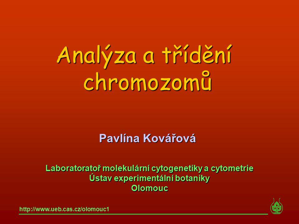 Laboratoratoř molekulární cytogenetiky a cytometrie Ústav experimentální botaniky Olomouc http://www.ueb.cas.cz/olomouc1 Pavlína Kovářová Analýza a tř