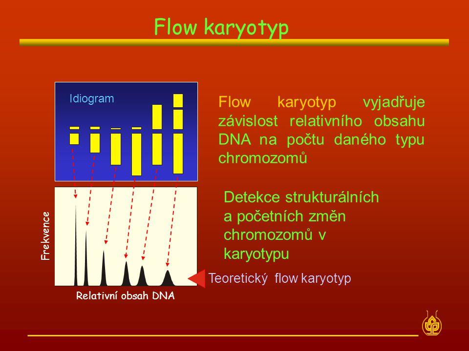 Flow karyotyp Idiogram Relativní obsah DNA Frekvence Idiogram Flow karyotyp vyjadřuje závislost relativního obsahu DNA na počtu daného typu chromozomů