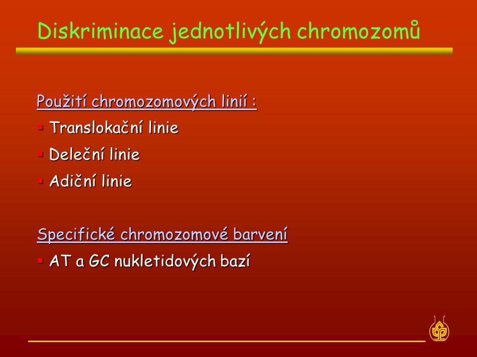 Použití chromozomových linií :  Translokační linie  Deleční linie  Adiční linie Specifické chromozomové barvení  AT a GC nukletidových bazí Diskri