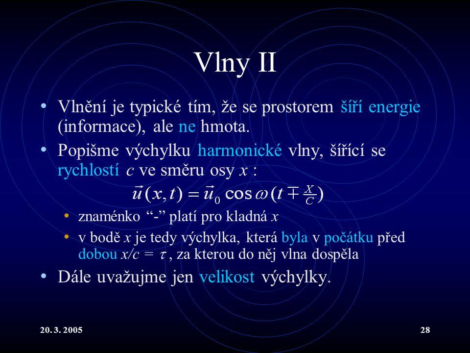 20. 3. 200528 Vlny II Vlnění je typické tím, že se prostorem šíří energie (informace), ale ne hmota. Popišme výchylku harmonické vlny, šířící se rychl