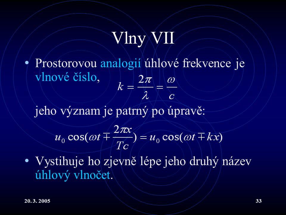 20. 3. 200533 Vlny VII Prostorovou analogií úhlové frekvence je vlnové číslo, jeho význam je patrný po úpravě: Vystihuje ho zjevně lépe jeho druhý náz