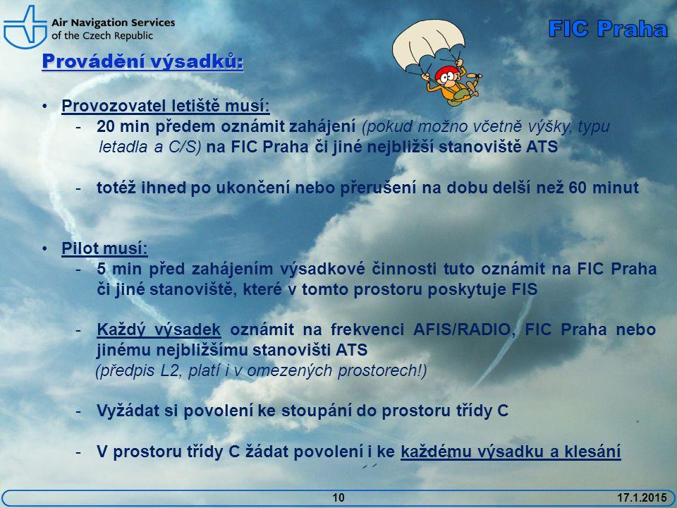 10 Provádění výsadků: Provozovatel letiště musí: -20 min předem oznámit zahájení (pokud možno včetně výšky, typu letadla a C/S) na FIC Praha či jiné nejbližší stanoviště ATS -totéž ihned po ukončení nebo přerušení na dobu delší než 60 minut Pilot musí: -5 min před zahájením výsadkové činnosti tuto oznámit na FIC Praha či jiné stanoviště, které v tomto prostoru poskytuje FIS -Každý výsadek oznámit na frekvenci AFIS/RADIO, FIC Praha nebo jinému nejbližšímu stanovišti ATS (předpis L2, platí i v omezených prostorech!) -Vyžádat si povolení ke stoupání do prostoru třídy C -V prostoru třídy C žádat povolení i ke každému výsadku a klesání 17.1.2015