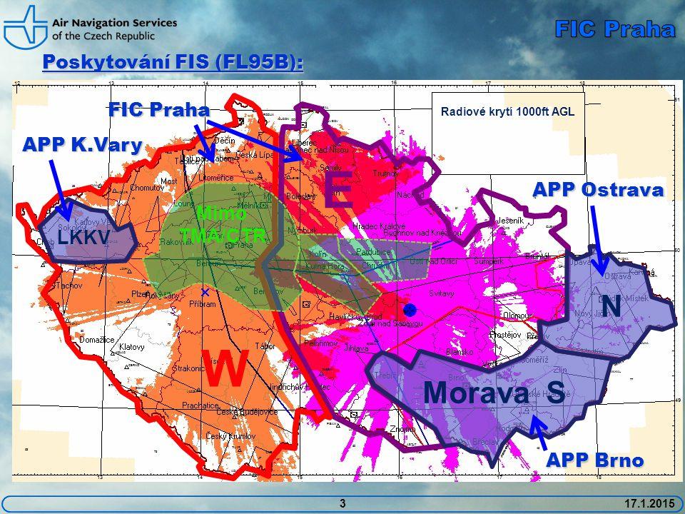 3 Poskytování FIS (FL95B): 17.1.2015 E W Mimo TMA/CTR Radiové krytí 1000ft AGL FIC Praha Morava S N APP Ostrava APP Brno LKKV APP K.Vary