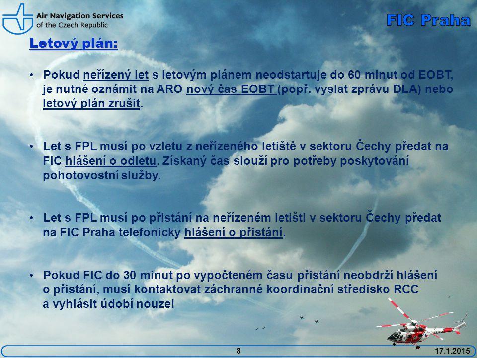 8 Letový plán: Pokud neřízený let s letovým plánem neodstartuje do 60 minut od EOBT, je nutné oznámit na ARO nový čas EOBT (popř. vyslat zprávu DLA) n